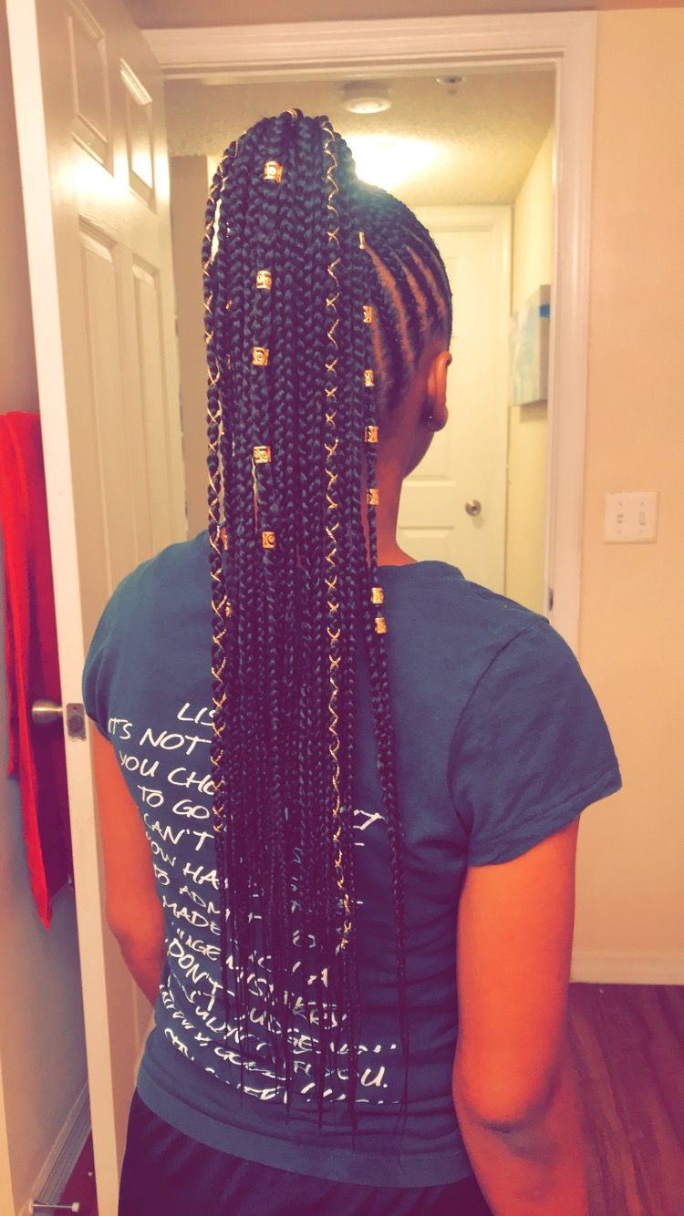 Small Feed In Braids Into A Ponytail That I Did On My Little Sister Cool Braid Hairstyles Cornrows With Beads Braided Hairstyles