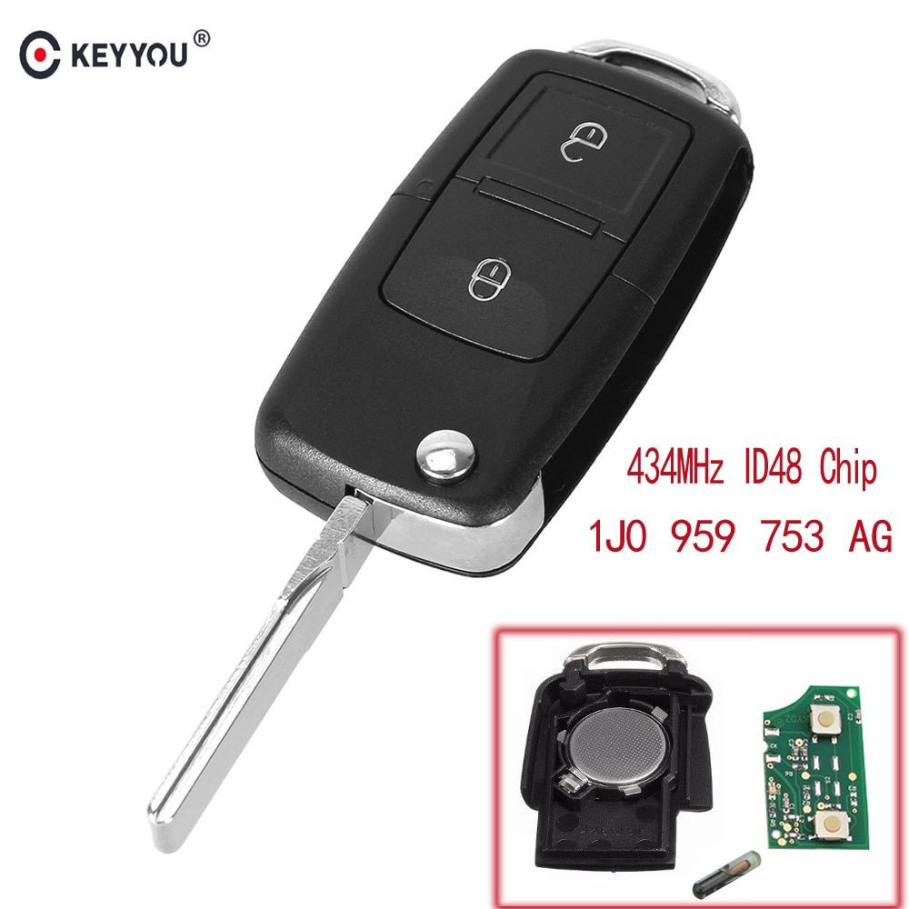Promo Offer KEYYOU 2 Buttons Flip Remote Car Key Fob For