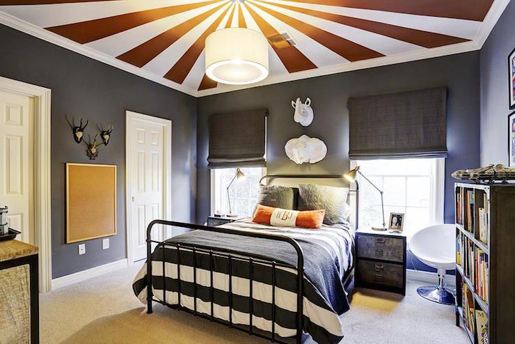 Cool Boy's Bedroom Features A White And Red Painted Circus