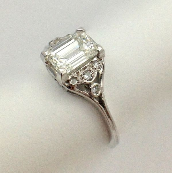Antique Emerald Cut Diamond Ring Want Pinterest And Emeralds