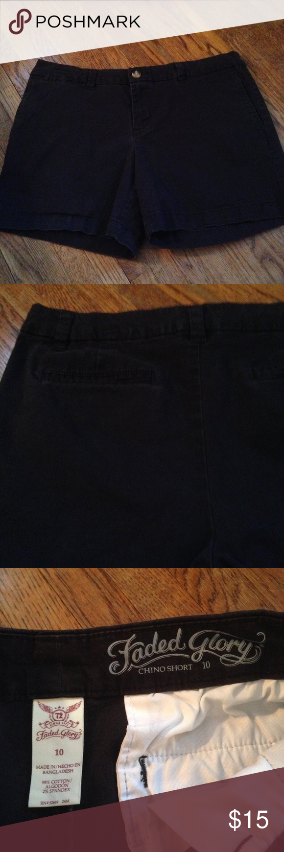 LBlack chino shorts! These are super cute and a great closet staple! They look great dressed up or down! They have not holes or stains. They come from a smoke free but pet friendly environment! I ship Monday-Friday. I don't hold or trade. Please don't negotiate the price in the comments. I only sell through poshmark. Faded Glory Shorts