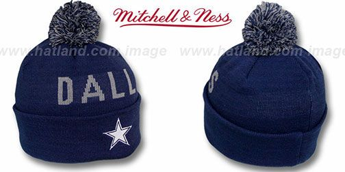 f95eb706 Cowboys 'KNIT BEANIE' Navy Knit Hat by Mitchell and Ness on hatland.com