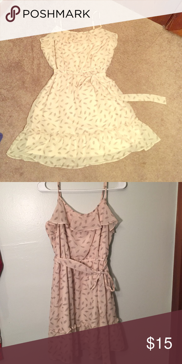 Charlotte Russe feather dress. Baige colored dress. Great condition Charlotte Russe Dresses Midi