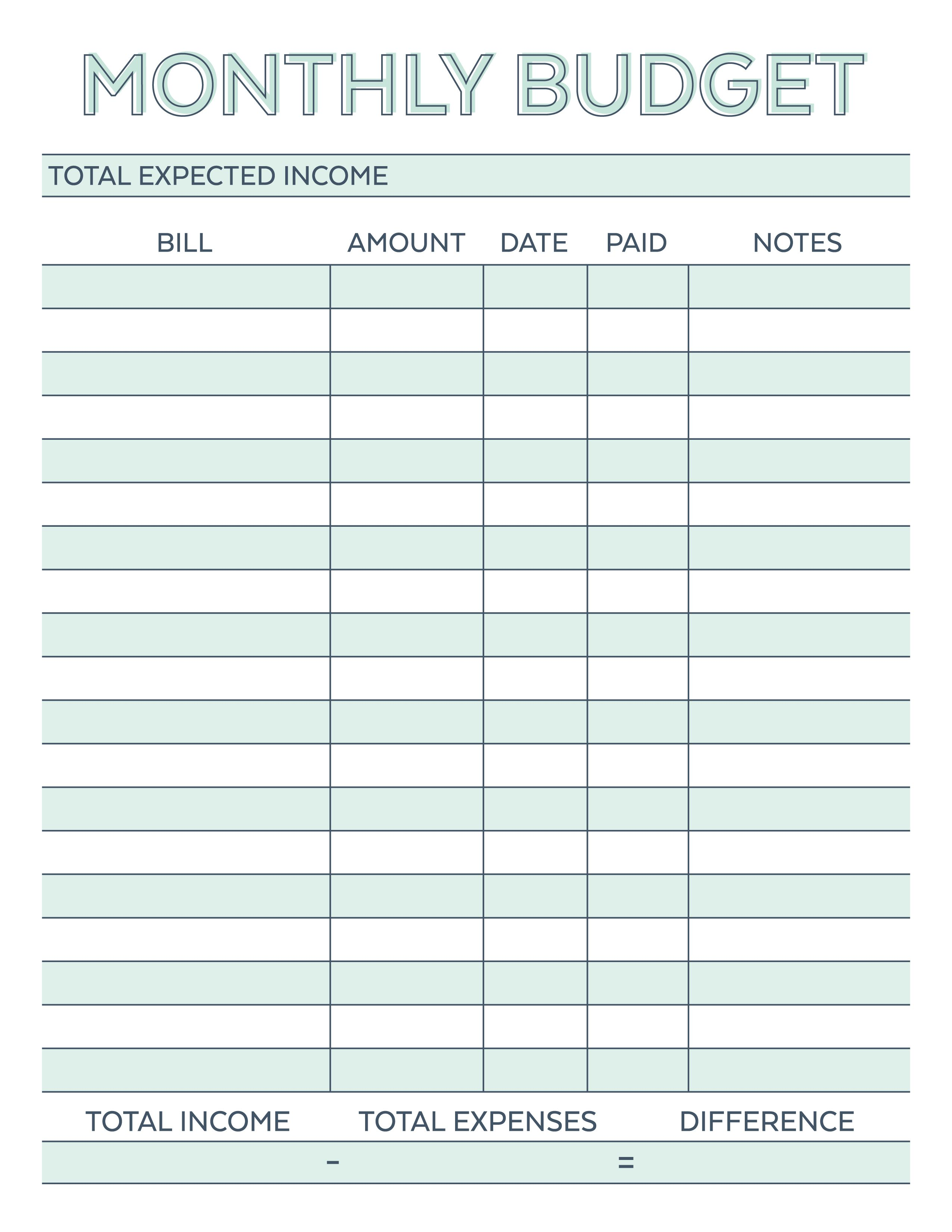 graphic about Printable Monthly Budget identify Pin by means of Melody Vliem upon Printables Month to month spending plan template