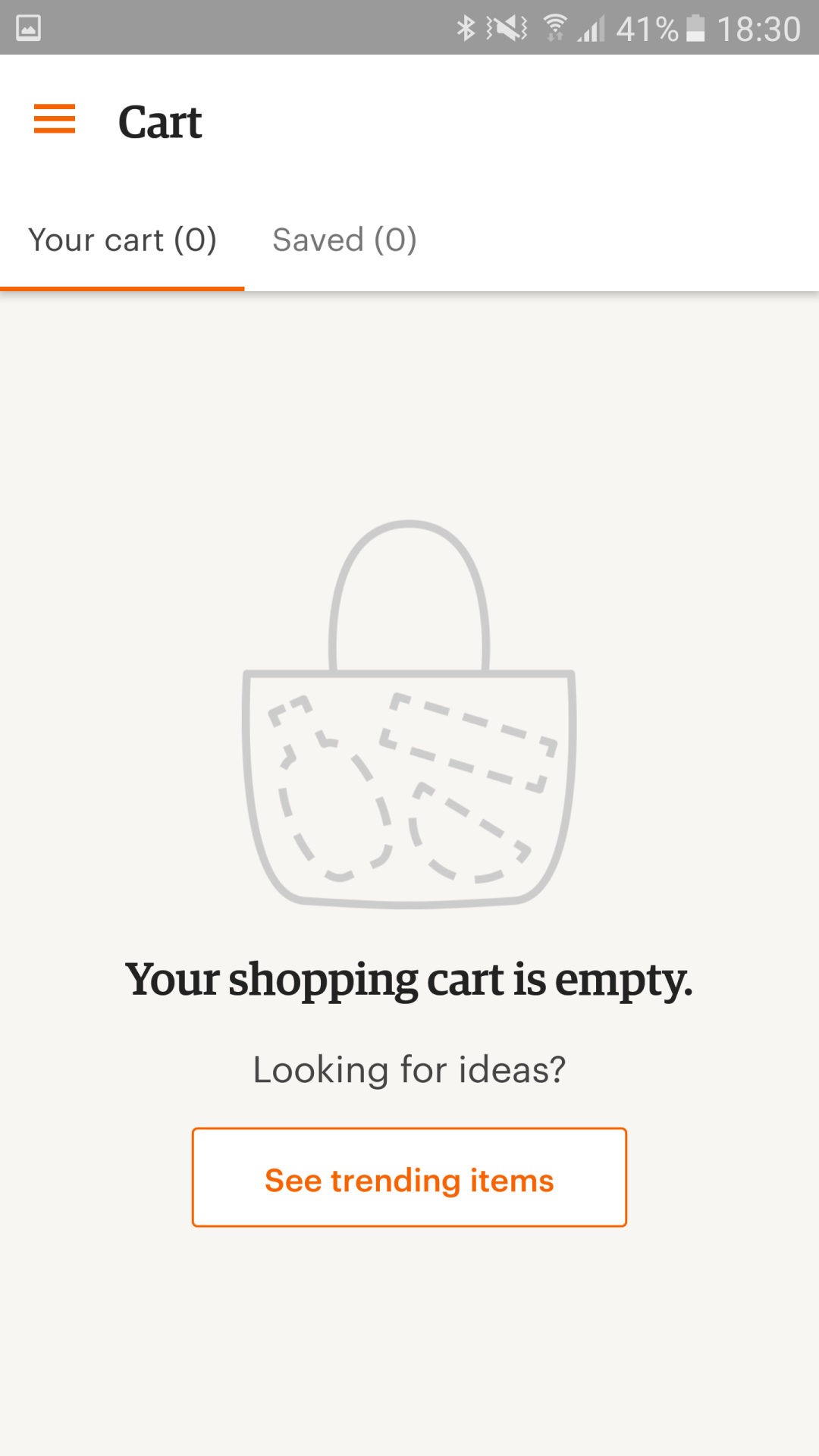 "6588c23763 Your shopping cart is empty"" in Etsy for Android 