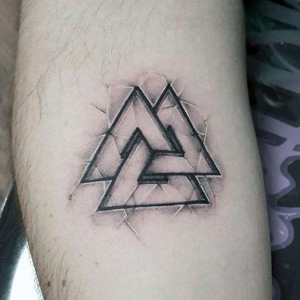 50 Valknut Tattoo Designs For Men – Norse Mythology Ink Ideas – TATTOO