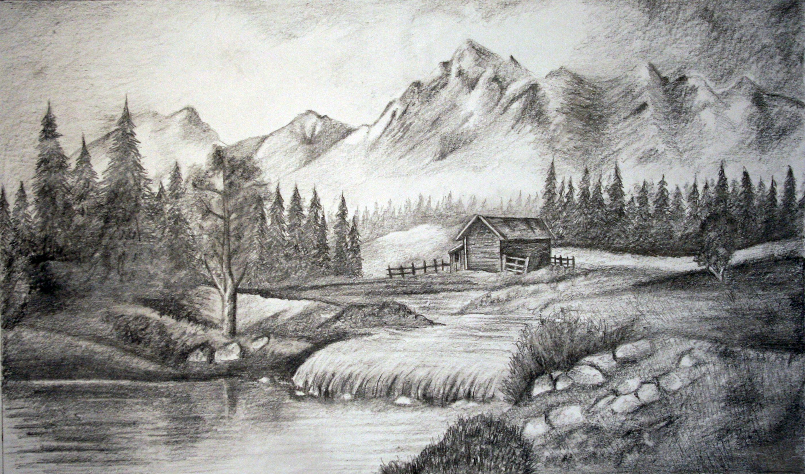 Landscape In Pencil Pencil Sketches Landscape Landscape Drawings Mountain Sketch