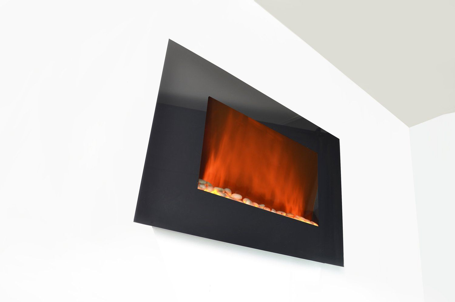 Amazon Com 36 Inch Wall Mount Modern Space Heater Electric Fireplace Heater Flat Tempered Glass W Remote Control Ax Modern Spaces Fireplace Fireplace Inserts