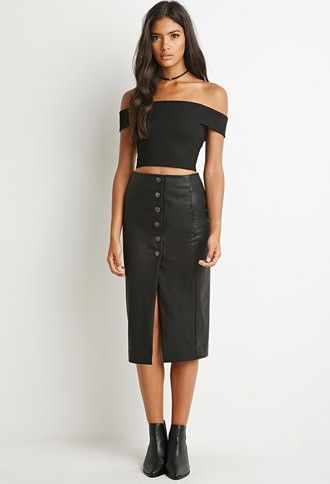 Buttoned Faux Leather Skirt | Forever 21 - 2000157336 | I Desire ...
