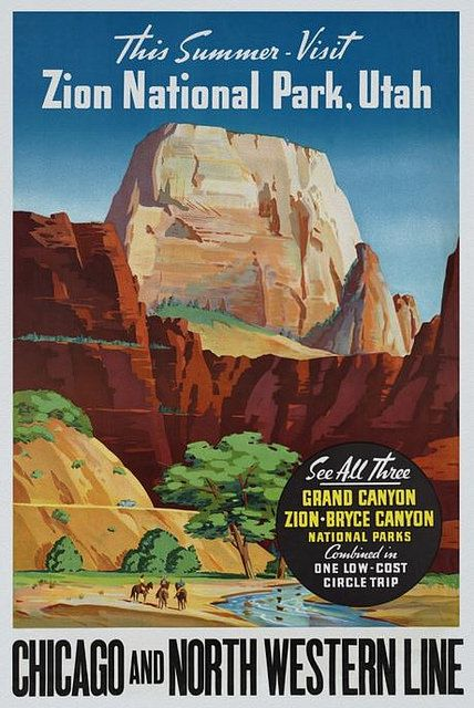 Zion National Park,Utah – Vintage Travel Poster by GraficaArtistica (pinned by haw-creek.com)