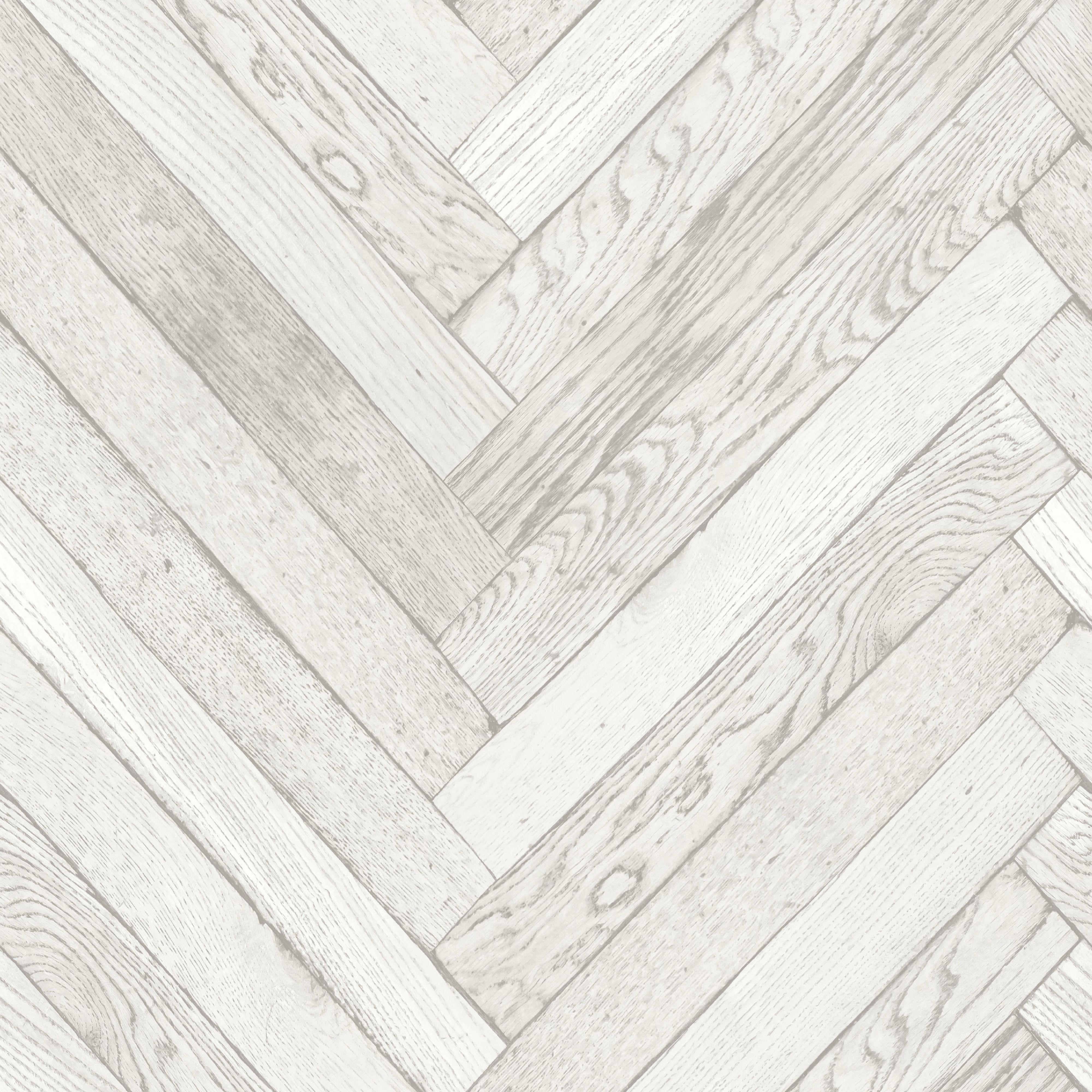 Parquet Wood Plank White Wallpaper
