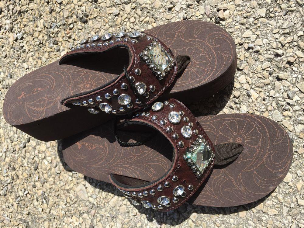 bccc7d40ebd29e Bling Flip Flops Western Rhinestone Diamond Concho Brown Montana West Size  10  MontanaWest  FlipFlops