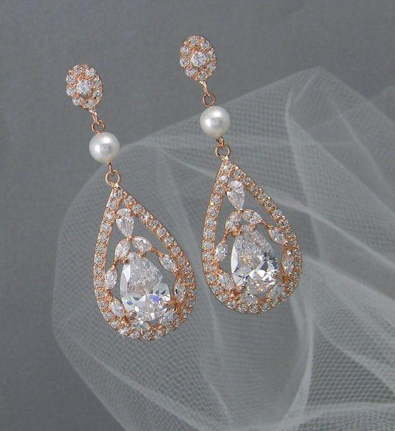 bridal earrings vintage style pearl swarovski crystal wedding earrings rhinestone bridesmaids adison rose gold
