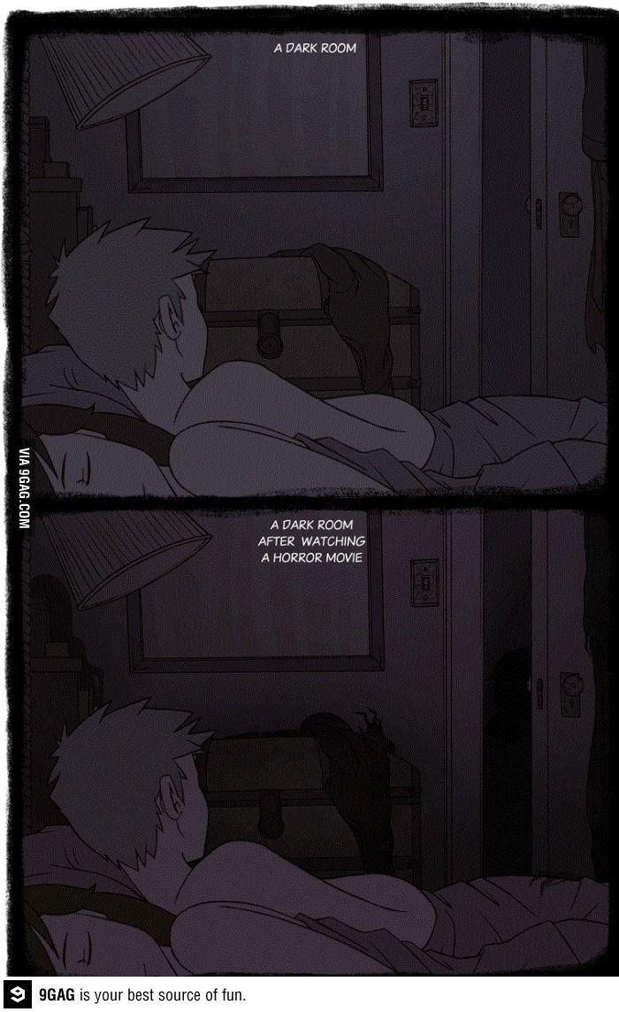 A dark room after horror movie..
