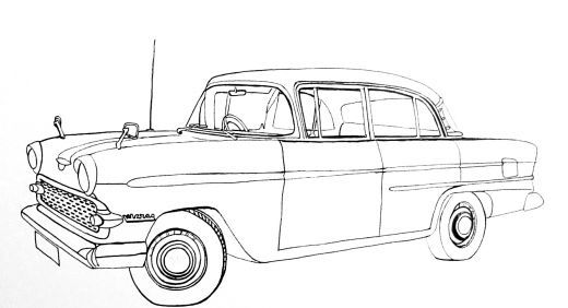 Drawing Air Silhouette Bel 1955 Chevy