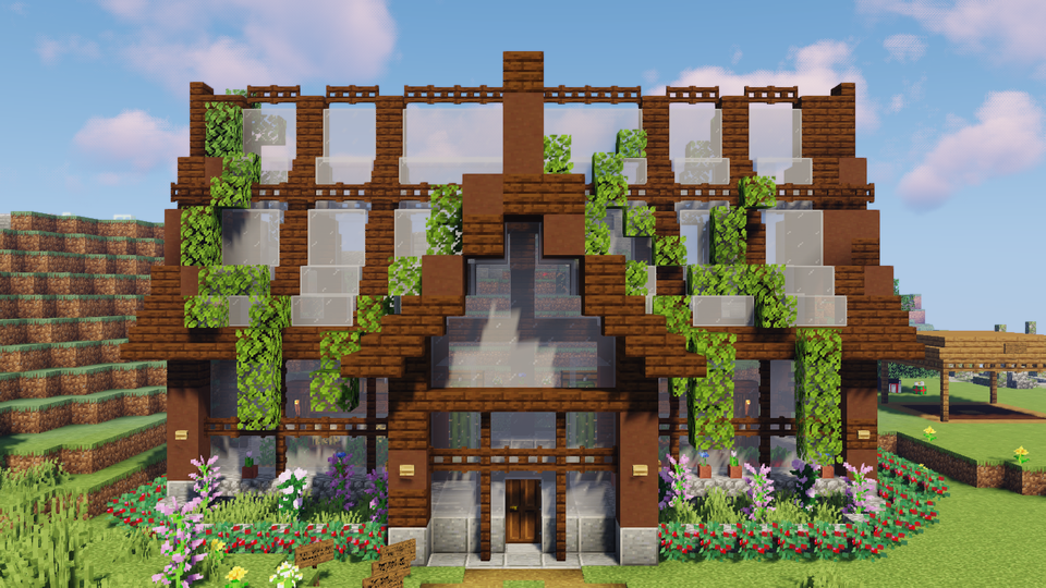A Build From Grian I Built As A Shop In Our Realm Minecraft Minecraft Shops Minecraft Greenhouse Minecraft Blueprints