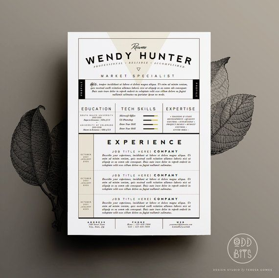 Resume Template   CV Template + Cover Letter for Word Instant - fonts for resume