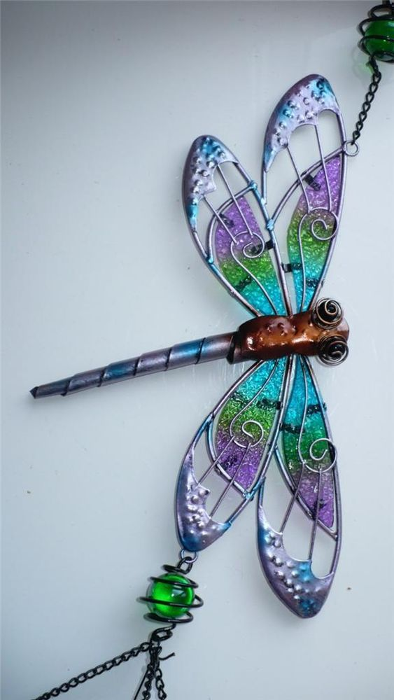 Dragonfly Wind Chime 36 In Total Yard Decor Bling Garden Outdoor E Purple