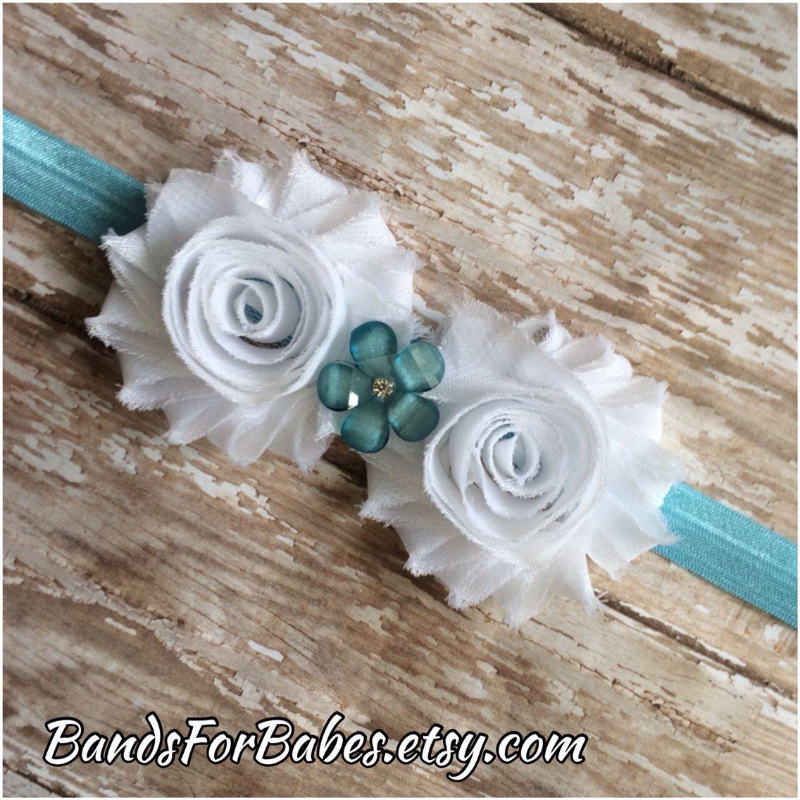 Items similar to Baby Blue and White Shabby Chic Flower Headband, Baby Headband, Toddler Headband, Girls Headband, Photo Prop on Etsy
