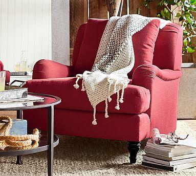 Arm Slipcovered Armchair, Hawthorne English Arm Slipcovered Sofa