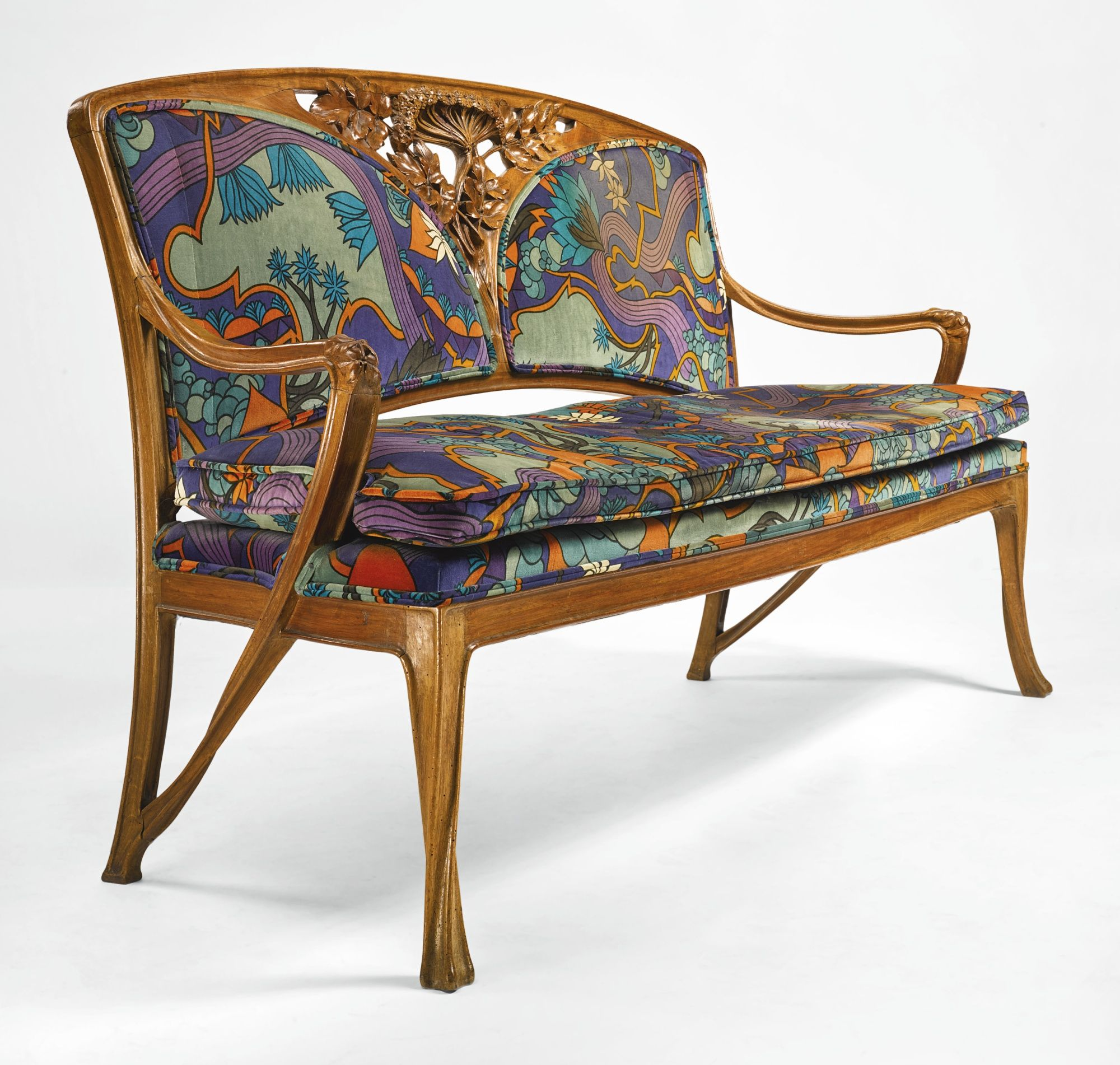 Louis Majorelle Settee walnut and fabric upholstery 38 1 4 x 63 1 2