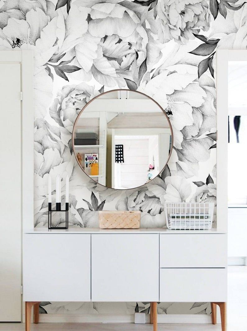 Peony Flower Mural Wallpaper Black And White Watercolor Etsy In 2021 Flower Mural Wallpaper Accent Wall Wall Art Wallpaper