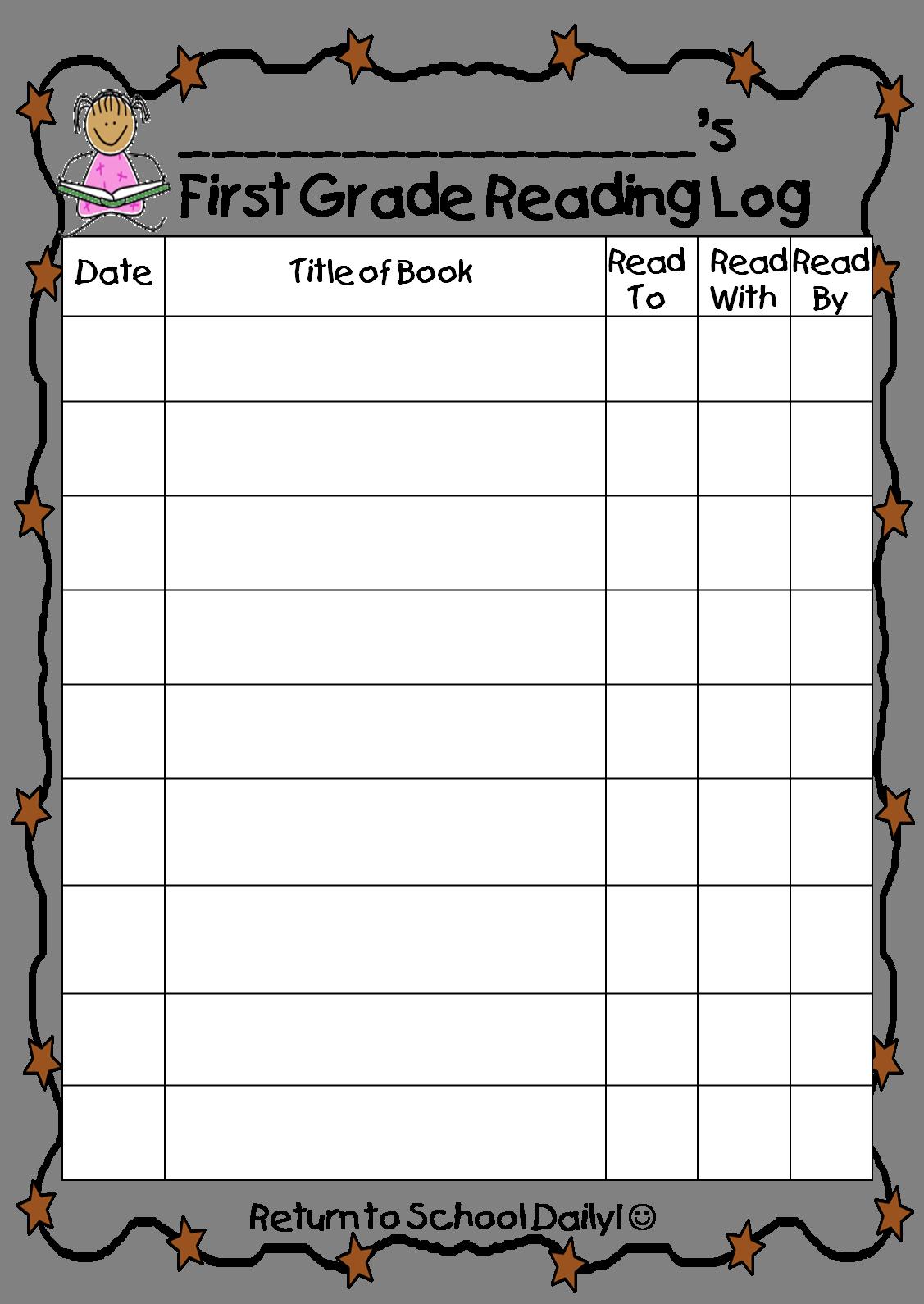 homework log template for students