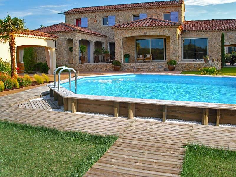 piscine bois maison jardin. Black Bedroom Furniture Sets. Home Design Ideas