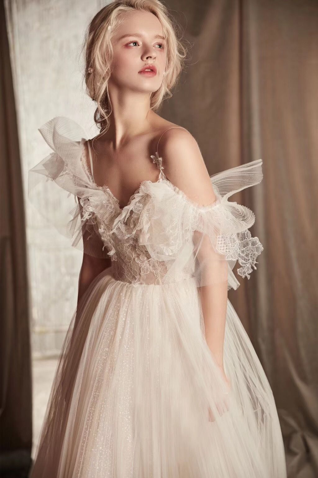 Ivory Pleated Tulle Beach Wedding Dress Casual Gown For Bride