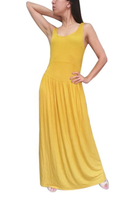 Sleeveless Maxi Dress with Cutout Back! Gold, Mustard Yellow.