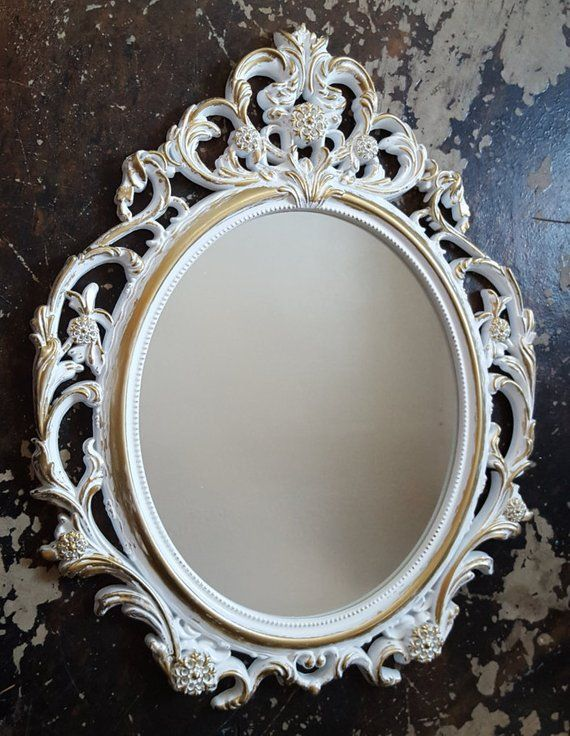 Baroque Gold Mirrors SALE Large White Gold Wall Mirror- Ornate Mirrors- Baroque Mirror- Shabby  Chic Mirror-Hollywood Rege
