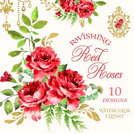 Red Roses Watercolor Clipart Red Flower Clipart Roses Bouquets Clipart Watercolour Floral Elements Flower Png File Set Graphics Download Flower Clipart Digital Flowers Watercolor Bouquet