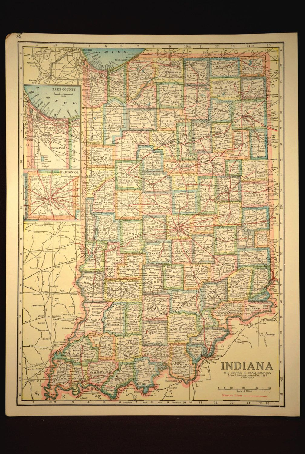 TWO SIDED Antique Road Map Indiana Map Original Highway Roadway - Antique road maps