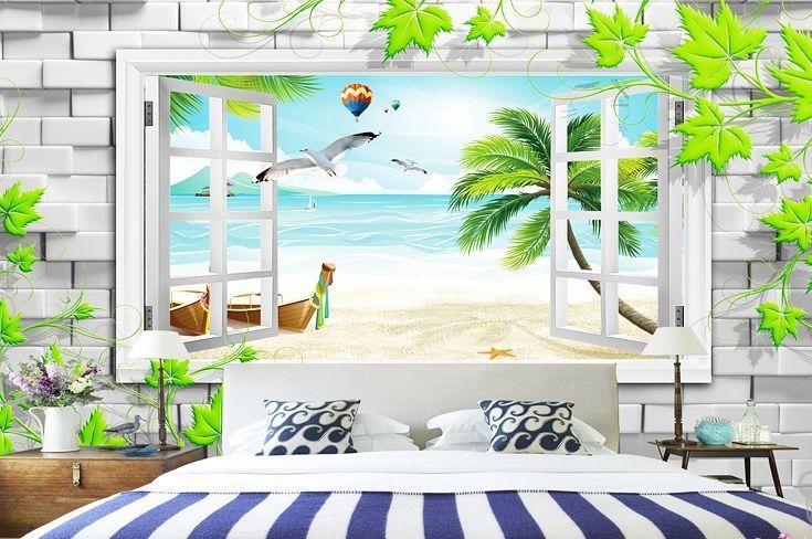 3d fenster strand fototapeten wandbild fototapete bild tapete familie kinder. Black Bedroom Furniture Sets. Home Design Ideas