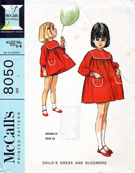 1960s Girl\'s Dress & Bloomers Pattern by Helen Lee McCall\'s 8050 ...