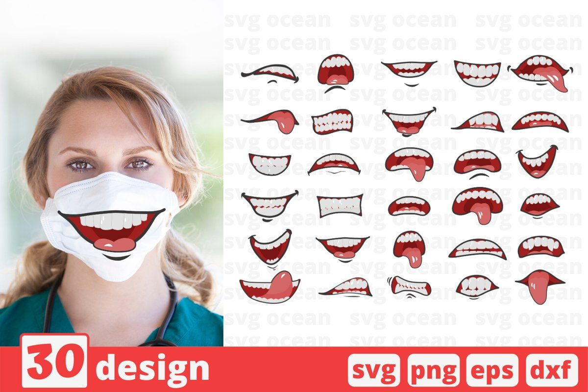 30 Cartoon Mouths Face Mask Svg Pattern Mouth Cricut Svg In 2020 Cartoon Mouths Cricut Svg Funny Face Mask