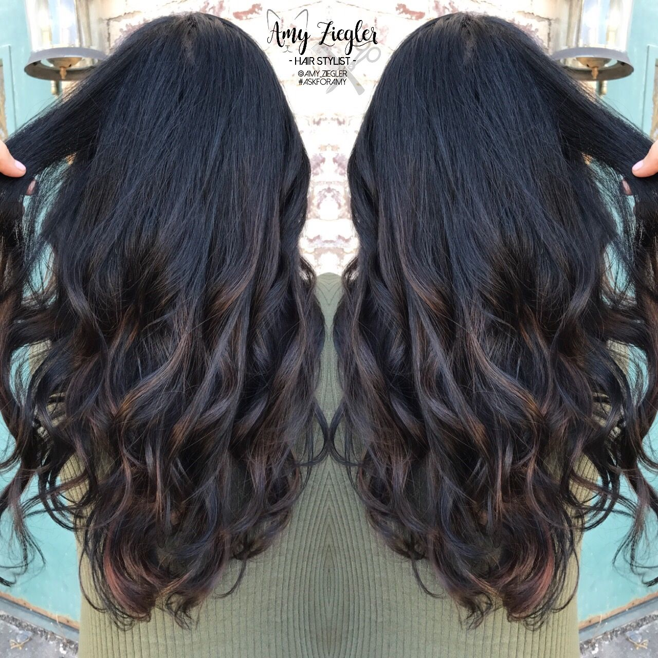 subtle balayage on jet black hair by askforamy
