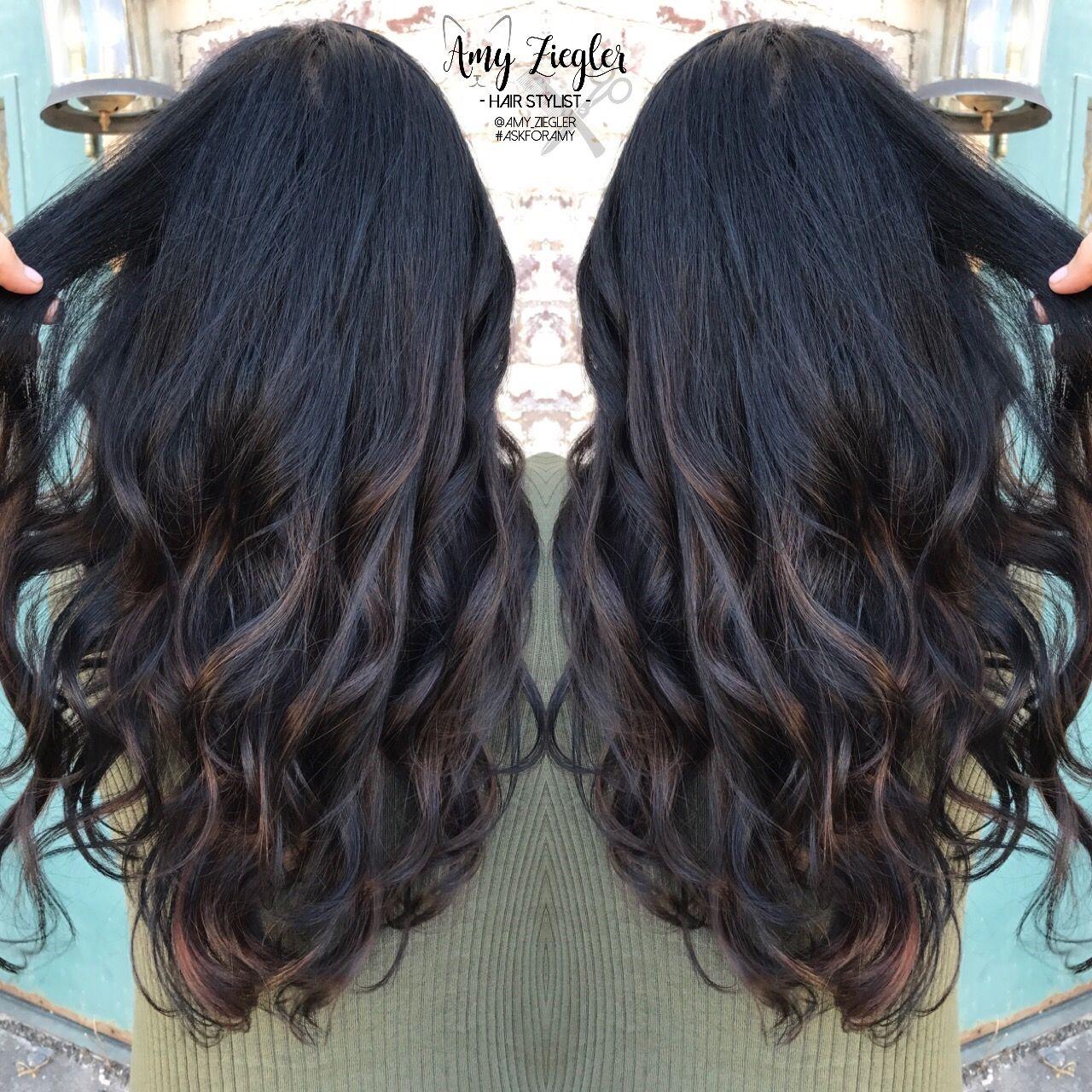 Subtle Balayage On Jet Black Hair By Askforamy Black Hair Ombre Black Hair Balayage Black Hair With Highlights