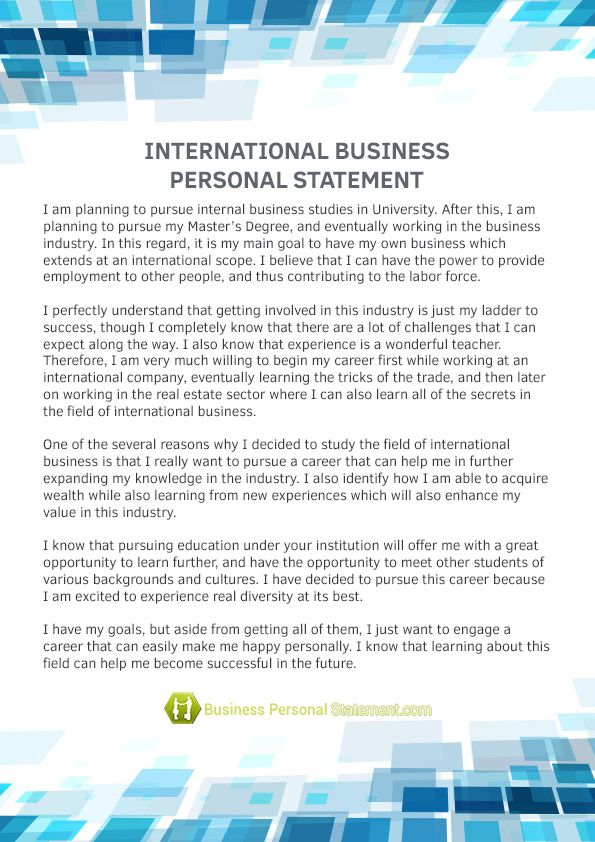 International business personal statement