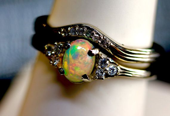 Opal & Diamond Ring Wedding set.14K, or 10K Solid Gold, or S.S.Top ...