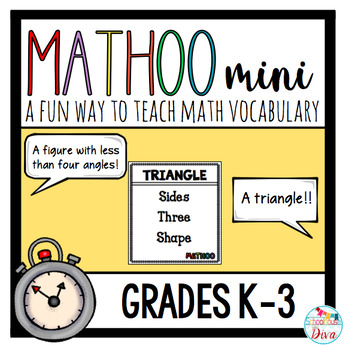 The same Math Taboo game we all know and love, but for the younger kids!This game incorporates math vocabulary terms into a really fun game and can be used all year long! 206 Mathoo cards included!This game is great for 1st - 3rd grade students, but can even be used as a review for older students.