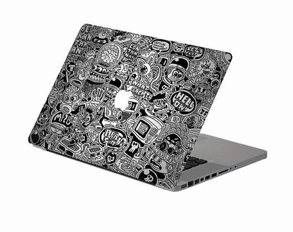 Black White Macbook Decal Macbook Stickers By Stickersapple 15 96 Macbook Decal Stickers Macbook Decal Laptop Decal Stickers