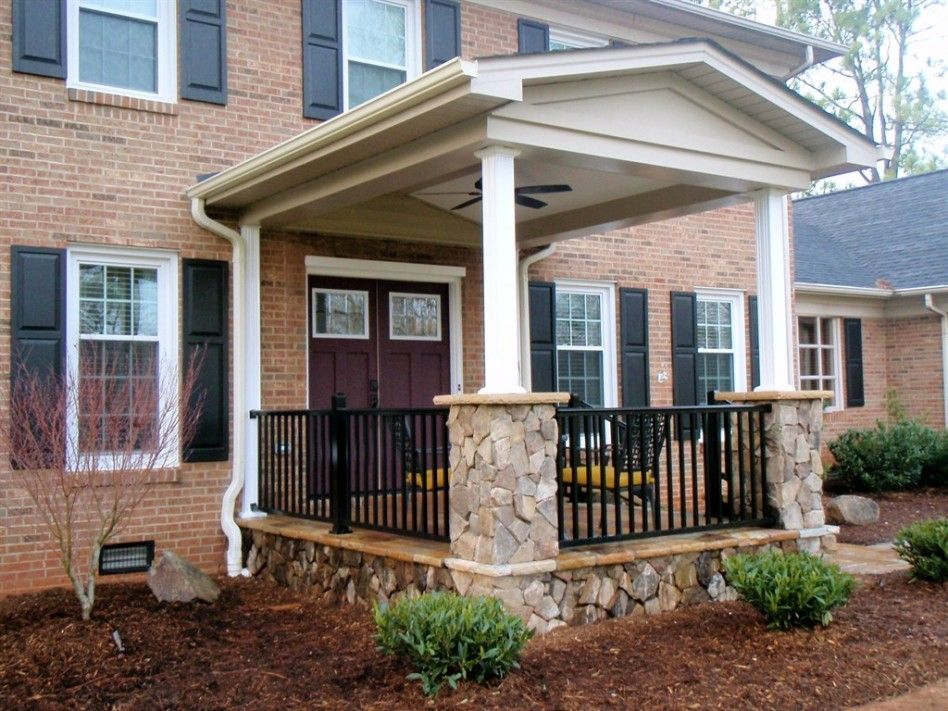 Interior gorgeous front porch portico design ideas with for Double front porch house plans
