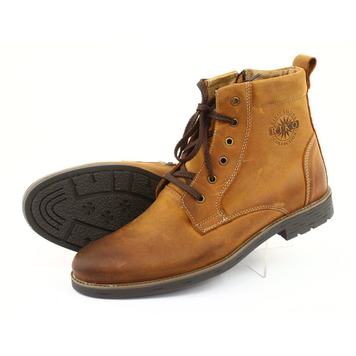 Wysokie Botki Trzewiki Na Suwak Riko 884 Crazy Sunny Brazowe Zolte Chelsea Boots Men Boots Nubuck Leather