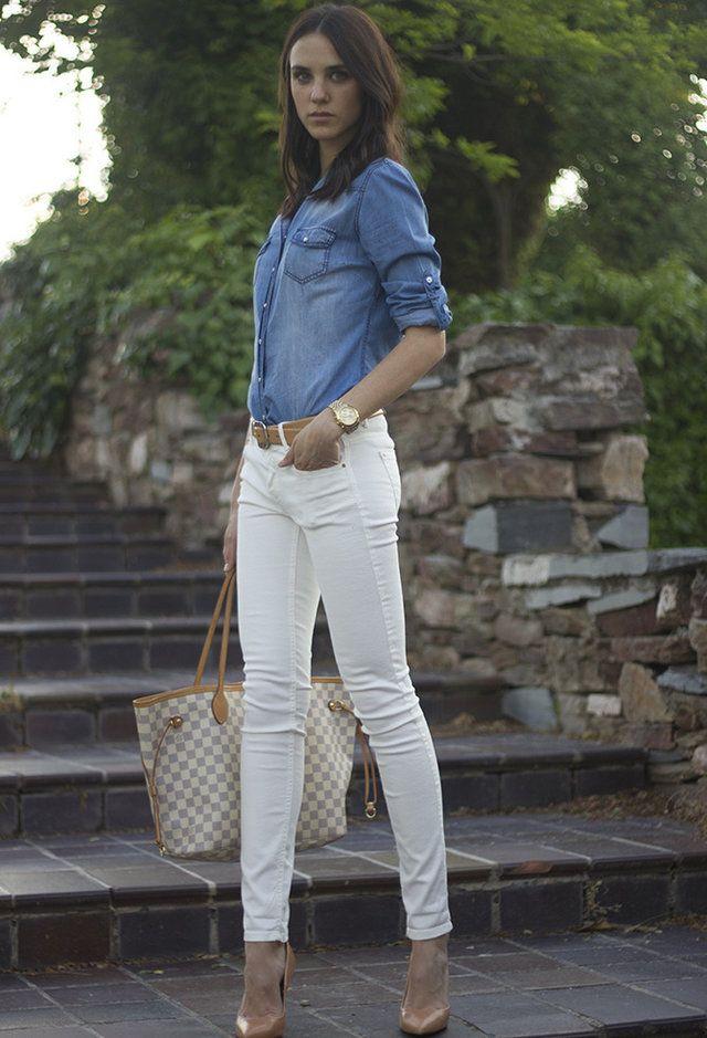 class = denim shirt   belt   white jeans   pumps | An outfit a day ...