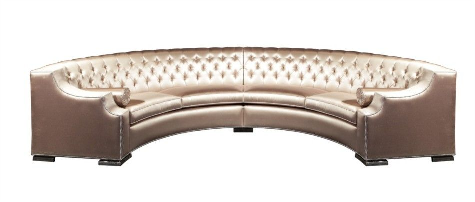 Small Sectional Sofa Luxury Grand Half Circle Button Tufted Upholstered Sofa With Silver Nail Trim