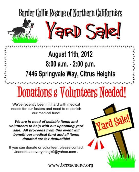 Citrus Heights Aug 11th 8am 2pm Yard Sale To Benefit Border Collie
