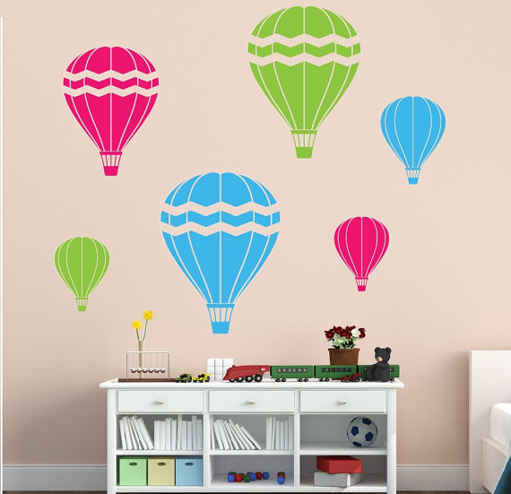 Set Of 6 Hot Air Balloon Wall Decals   Childrens Room Decor Kids Room Vinyl  Wall