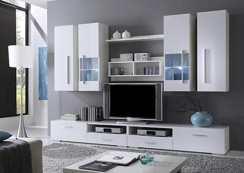 Echo Modern Contemporary Wall Unit Entertainment Center White High Gloss Cabinet Living Room