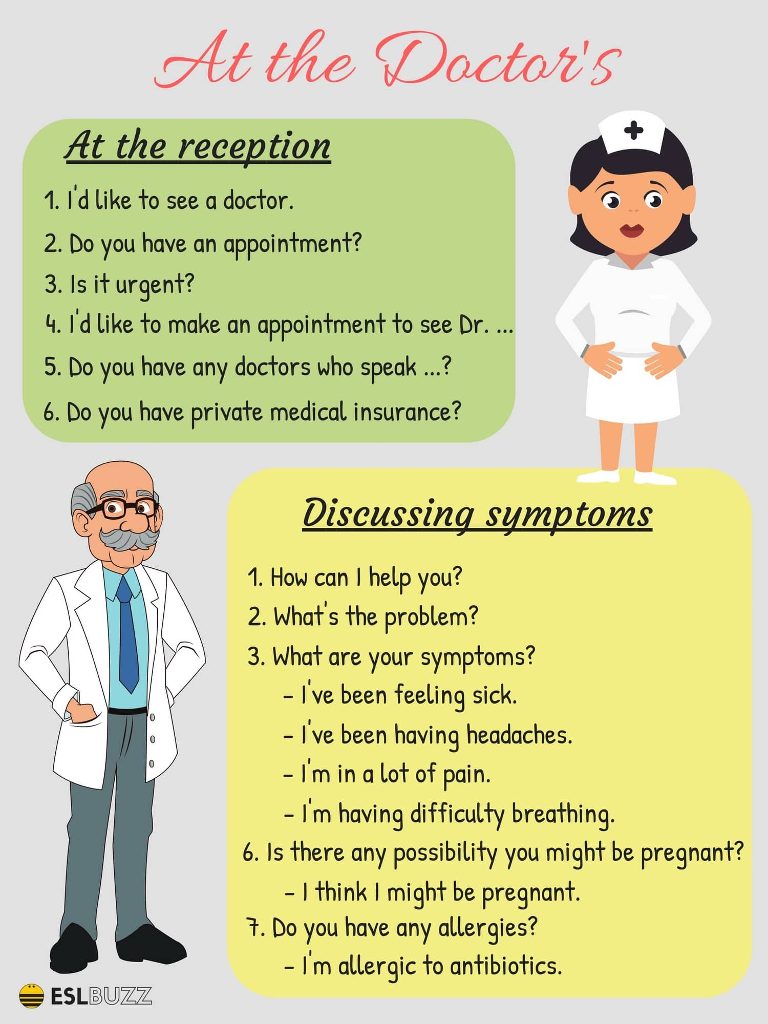 20+ Common English Phrases for the Doctor's Office